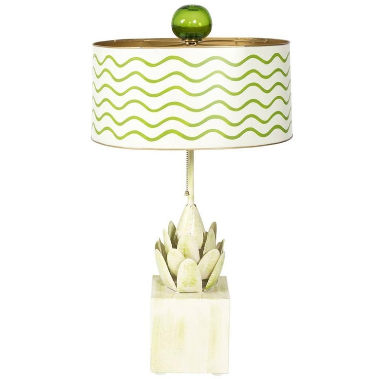 Green and White Tole Table Lamp