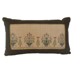 Green and Yellow Linen Turkish Embroidery Bolster Decorative Pillow