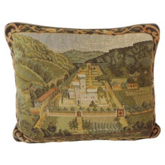 Green and Yellow 'New' Tapestry Decorative Lumbar Pillow