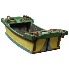 Green and Yellow Painted Wooden Boat, 20th Century