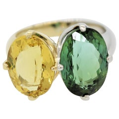 "Green and Yellow Tourmaline Diamond Gold and Platinum ""Twin"" Ring"