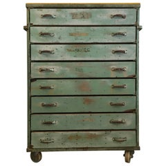 Green and Yellow Vintage Iron Industrial Storage Cabinet