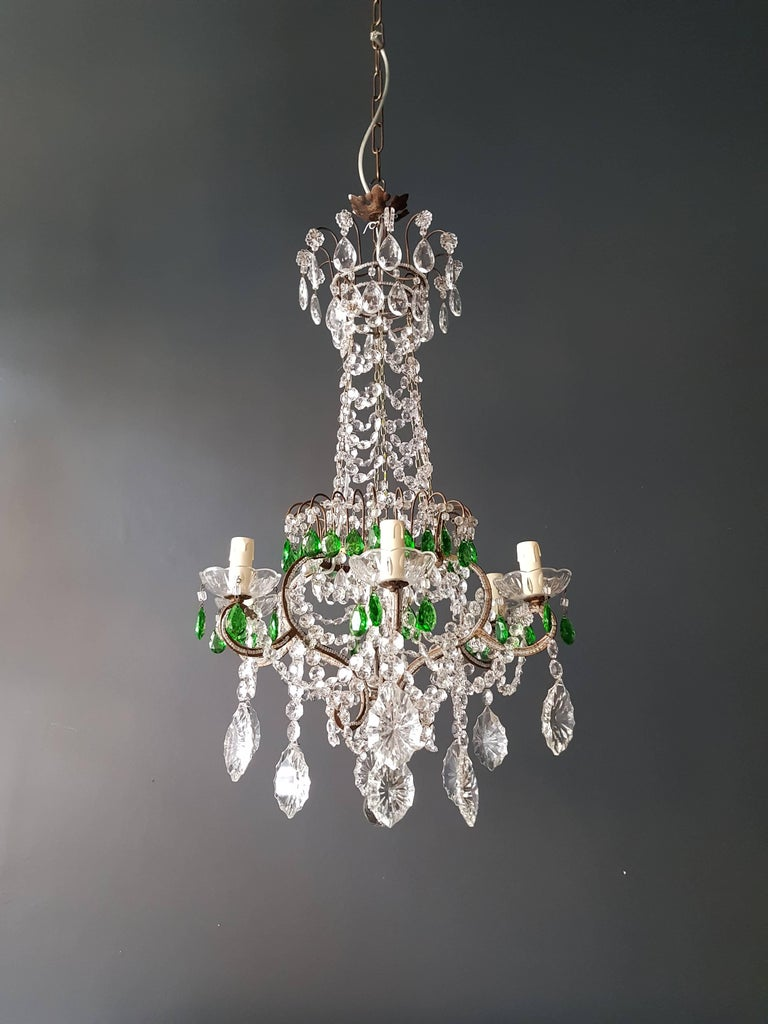 Green antique 1900s chandelier crystal lustre ceiling lamp rarity neoclassical original antique preserved crystal chandelier, circa 1900. Cabling and sockets completely renewed. Crystal hand-knotted Measure: Total height 130cm, height without
