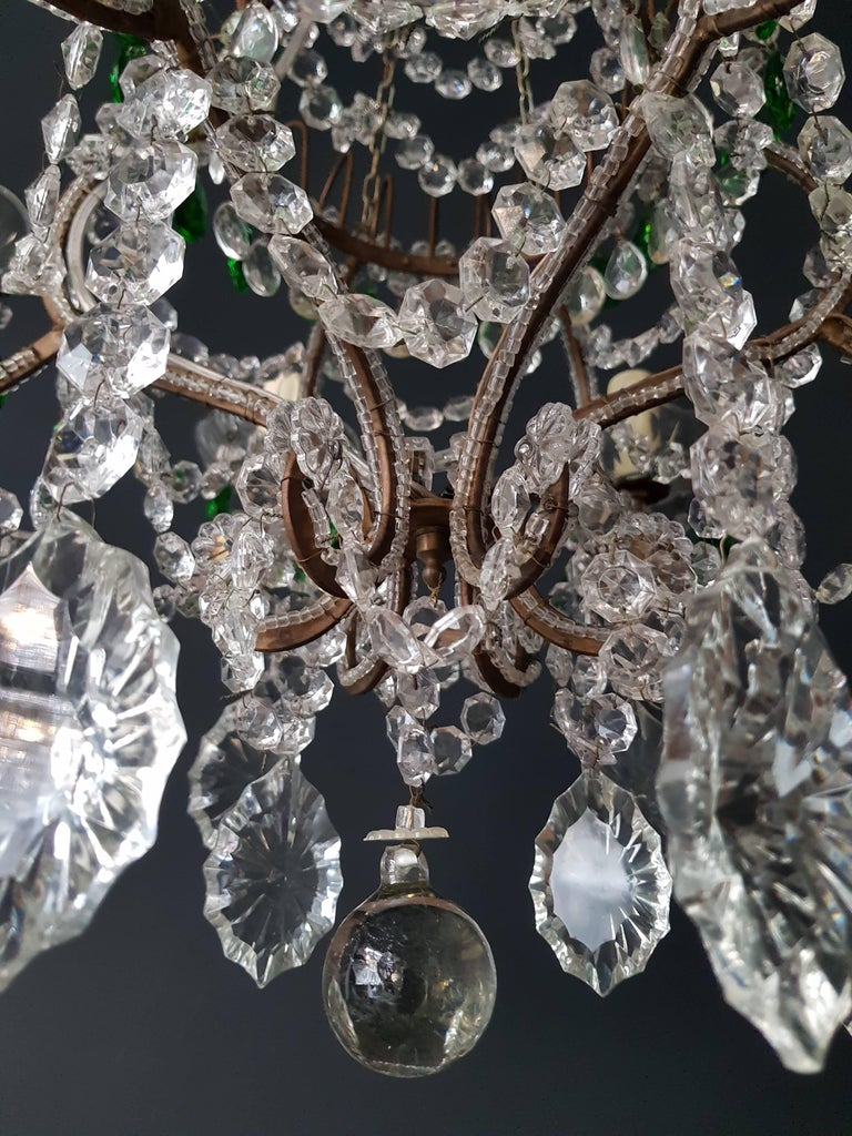 Green Antique 1900s Chandelier Crystal Lustre Ceiling Lamp Rarity Neoclassical In Good Condition For Sale In Berlin, DE