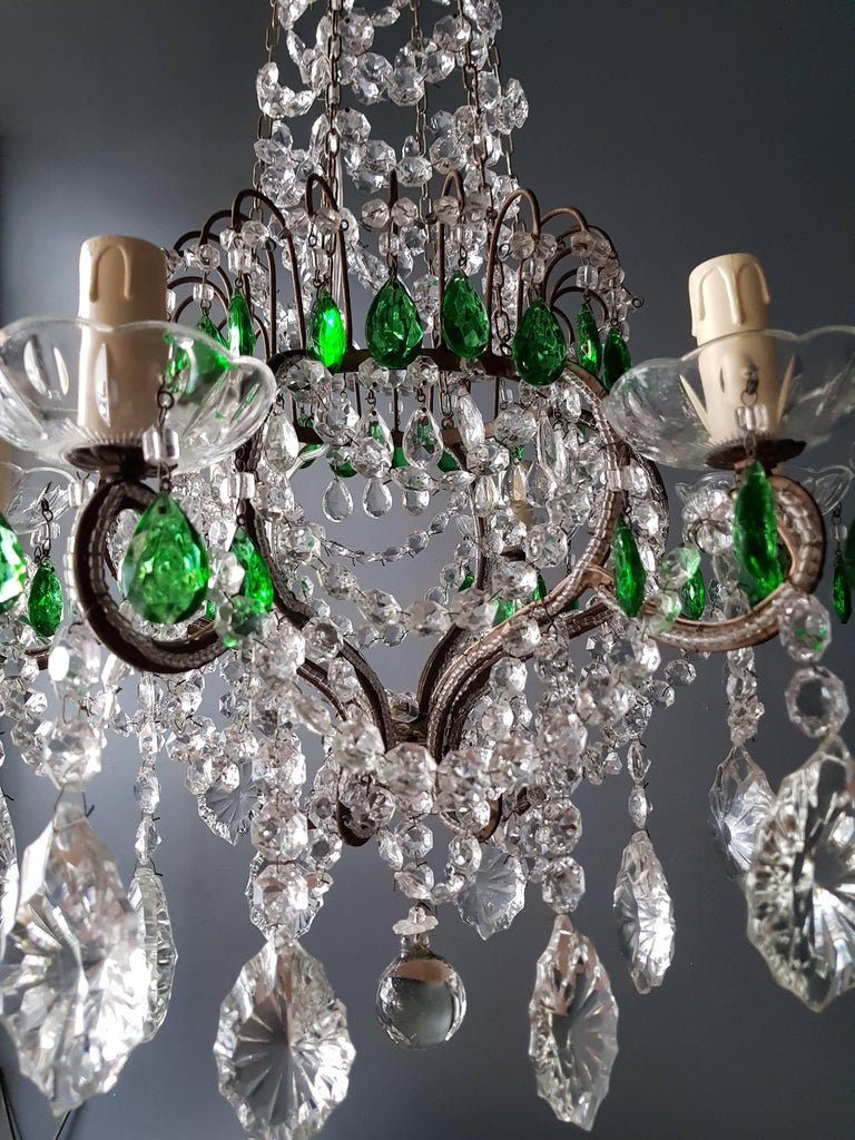 19th Century Green Antique 1900s Chandelier Crystal Lustre Ceiling Lamp Rarity Neoclassical For Sale