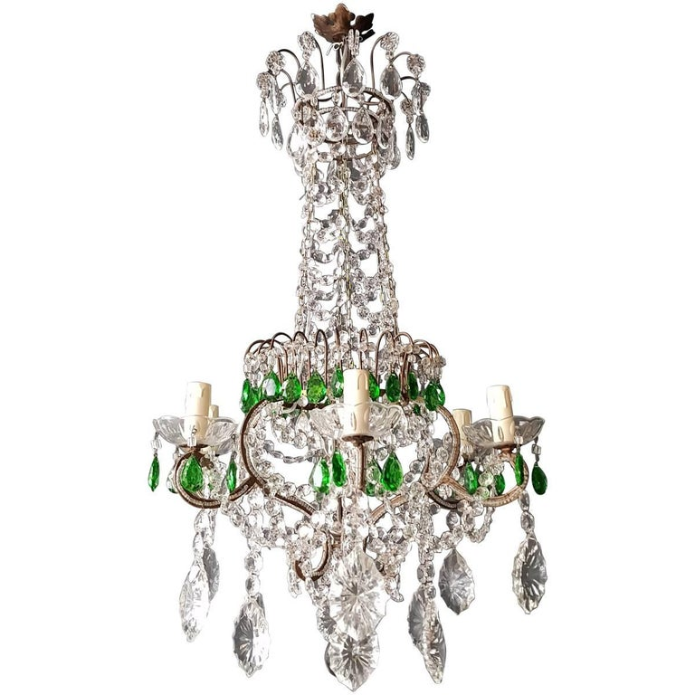 Green Antique 1900s Chandelier Crystal Lustre Ceiling Lamp Rarity Neoclassical For Sale