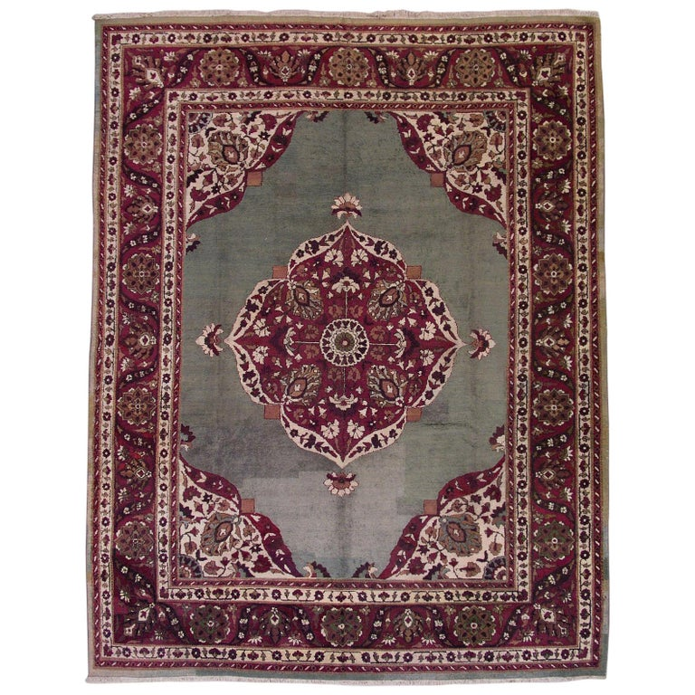 Antique Cotton Agra Rug With Abrash Circa 1900 For Sale: Green Antique Agra Rug, Circa 1900 For Sale At 1stdibs
