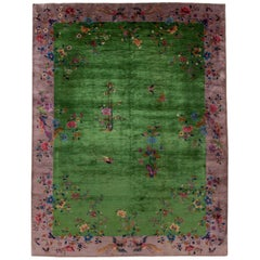 Green Antique Art Deco Chinese Handmade Wool Rug