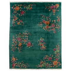 Green Antique Art Deco Chinese Wool Rug