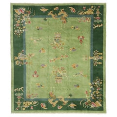 Green Antique Chinese Art Deco Rug with Dragons and Ming Dynasty Style