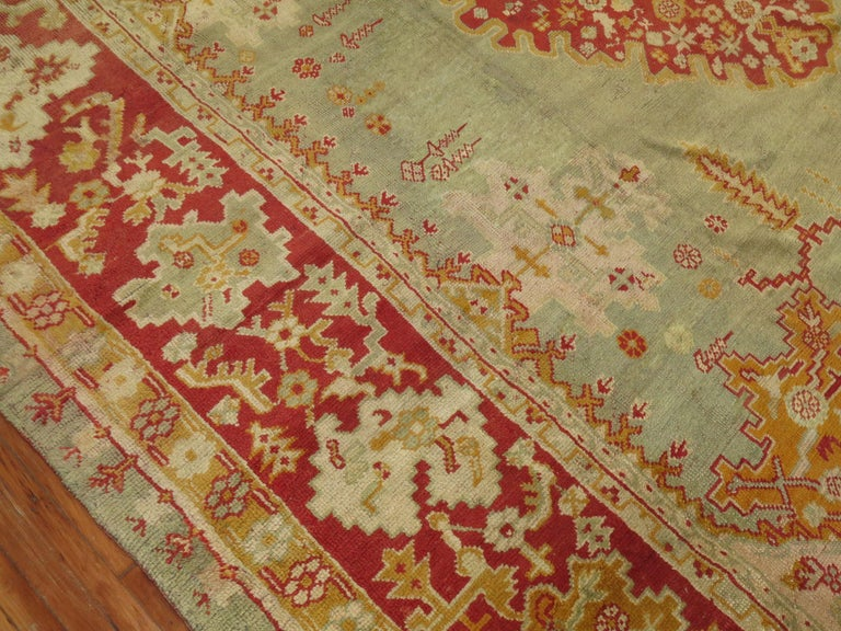 Green Antique Oushak Rug For Sale 2