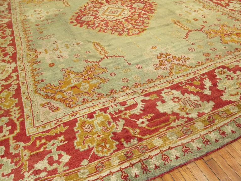 Green Antique Oushak Rug For Sale 3
