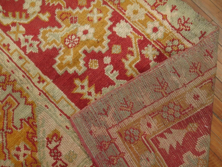 Green Antique Oushak Rug For Sale 4