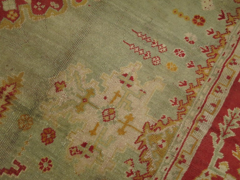 Green Antique Oushak Rug For Sale 5