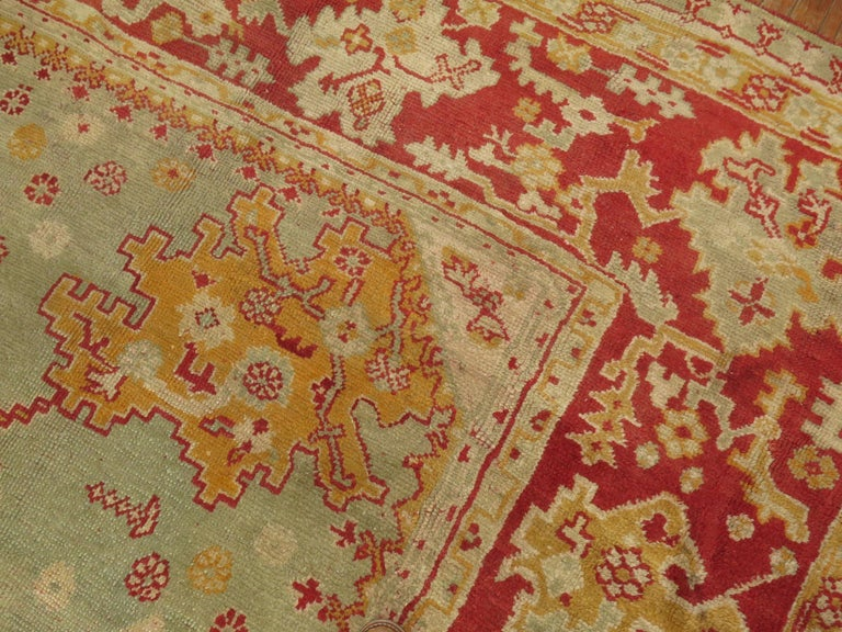 Green Antique Oushak Rug For Sale 6