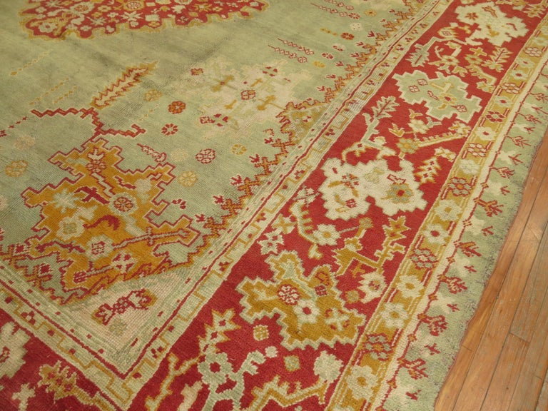 Green Antique Oushak Rug For Sale 8