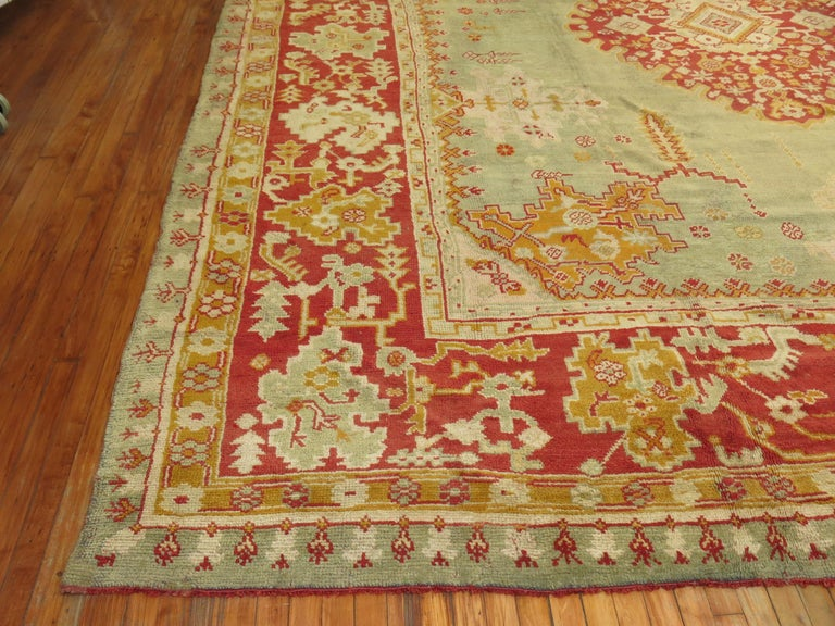 Green Antique Oushak Rug For Sale 10