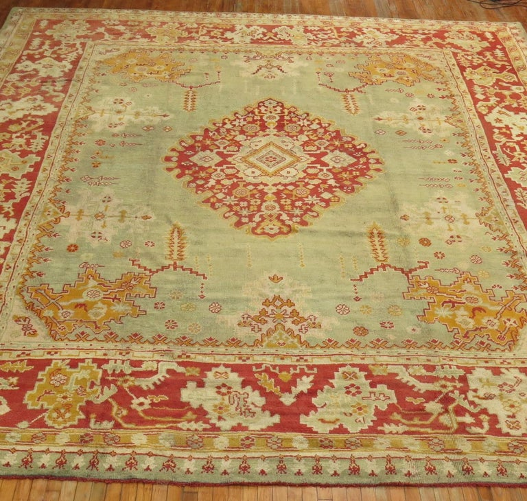 Green Antique Oushak Rug For Sale 11