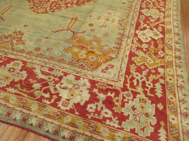 Green Antique Oushak Rug For Sale 12