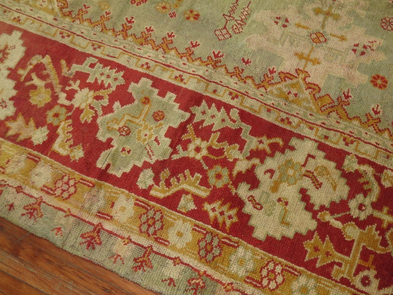 Country Green Antique Oushak Rug For Sale