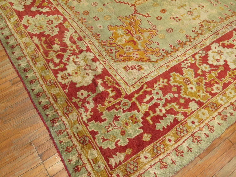 Turkish Green Antique Oushak Rug For Sale