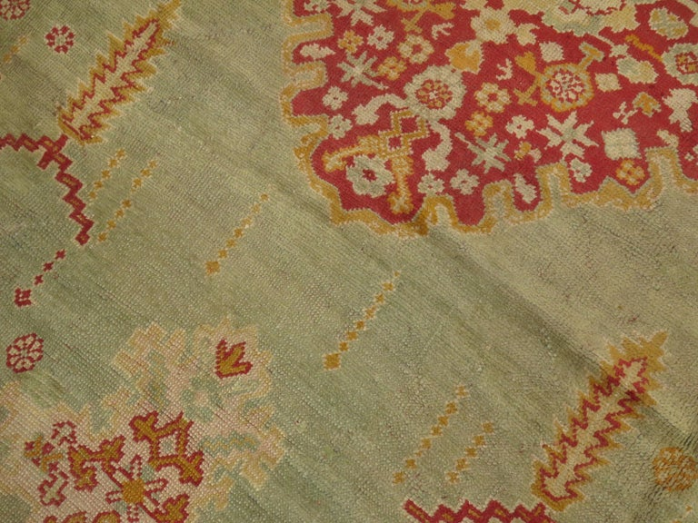 Green Antique Oushak Rug In Good Condition For Sale In New York, NY