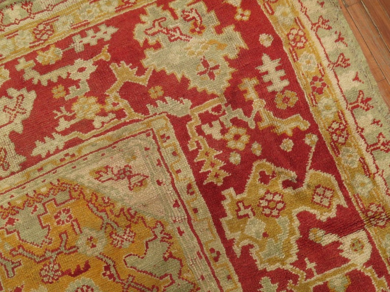 Wool Green Antique Oushak Rug For Sale