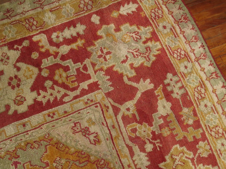 Green Antique Oushak Rug For Sale 1