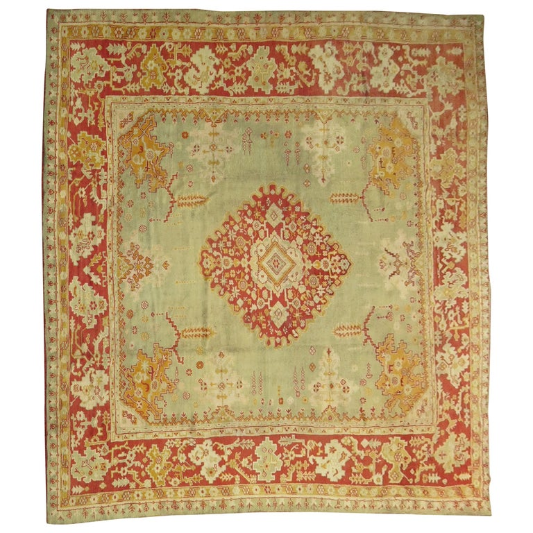 Green Antique Oushak Rug For Sale