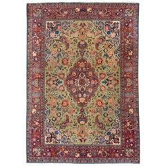 Green Antique Persian Tabriz Handmade Wool Rug