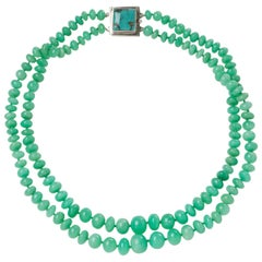 Green Apple Colored Two-Strand Chrysoprase Bead Necklace with a Turquoise Clasp