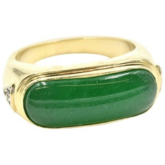 Green Apple Jade with Diamond Accents Ring 14 Karat Yellow Gold