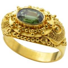 Green 'Approximate 1.0 Carat' Tourmaline Ring in 22 Karat Gold with Granulation