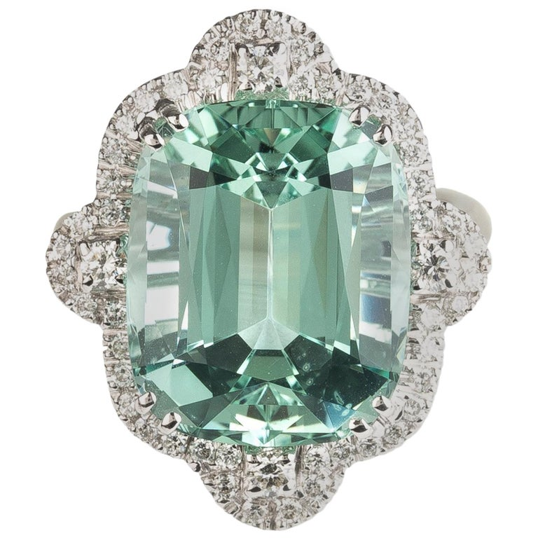 Green Aquamarine Diamond 18 Karat White Gold Cocktail Ring For Sale