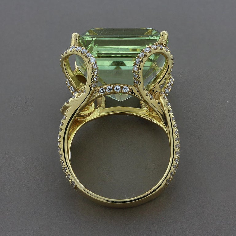 Green Aquamarine Diamond Gold Ring In New Condition For Sale In Beverly Hills, CA
