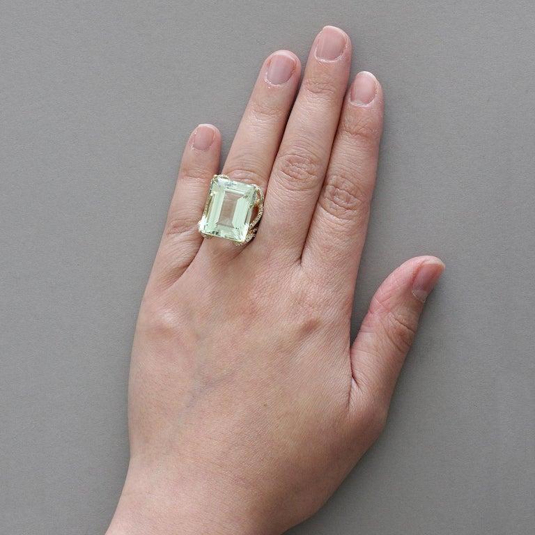 Women's or Men's Green Aquamarine Diamond Gold Ring For Sale
