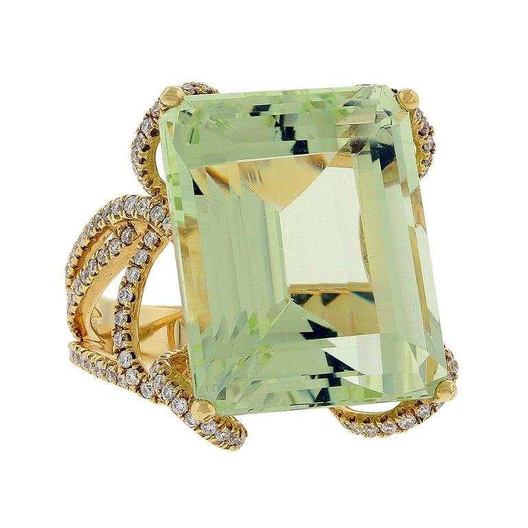 Green Aquamarine Diamond Gold Ring For Sale