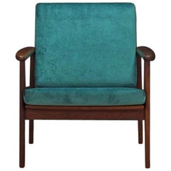 Green Armchair Danish Design 1970s Teak Vintage