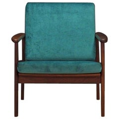 Green Armchair Teak Danish Design 1970s Classic