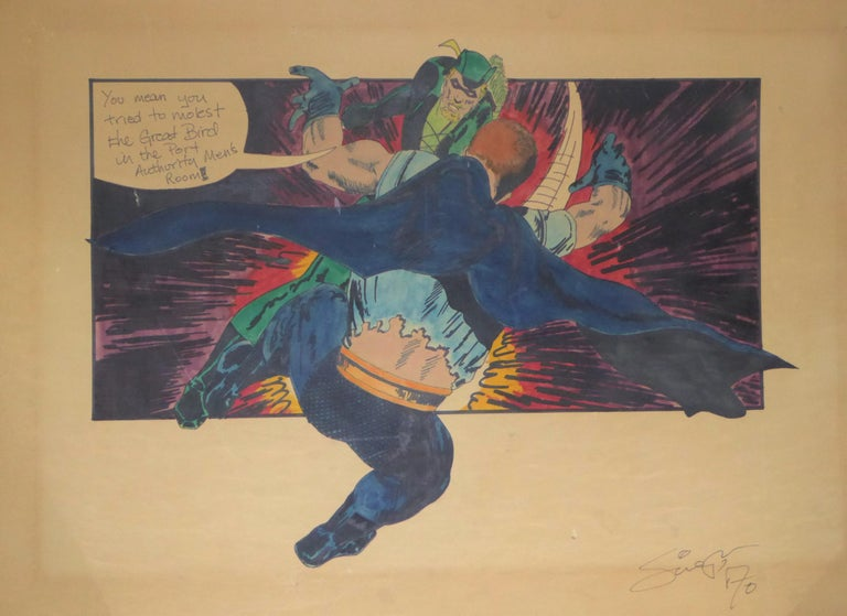Green Arrow and Manhunter, 1970 DC Comics Superhero Painting Ink Watercolor For Sale 4