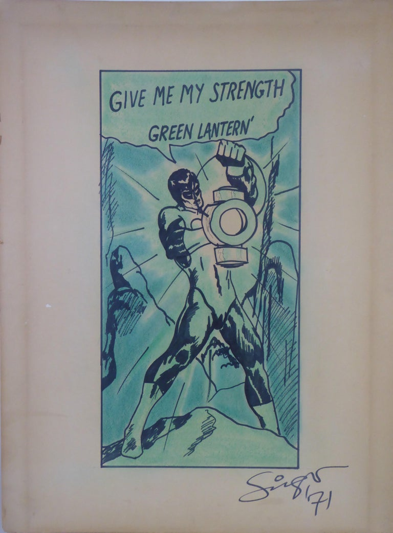 Green Arrow and Manhunter, 1970 DC Comics Superhero Painting Ink Watercolor For Sale 5