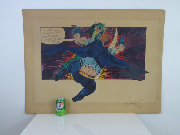 In this 1970 large watercolor painting of DC comics superhero green arrow is teaching a lesson to the Manhunter on Port Authority men's room etiquette. Fun, campy and well painted, signed and dated on lower right side. Unable to decipher signature.