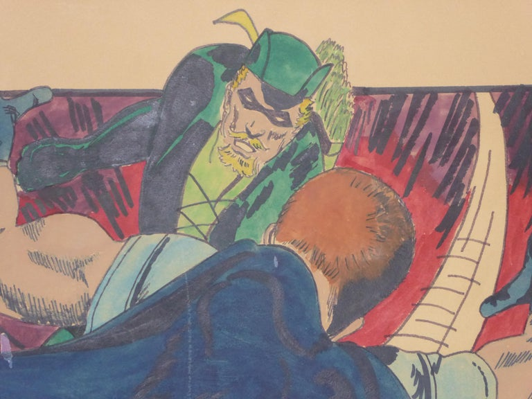 Hand-Painted Green Arrow and Manhunter, 1970 DC Comics Superhero Painting Ink Watercolor For Sale