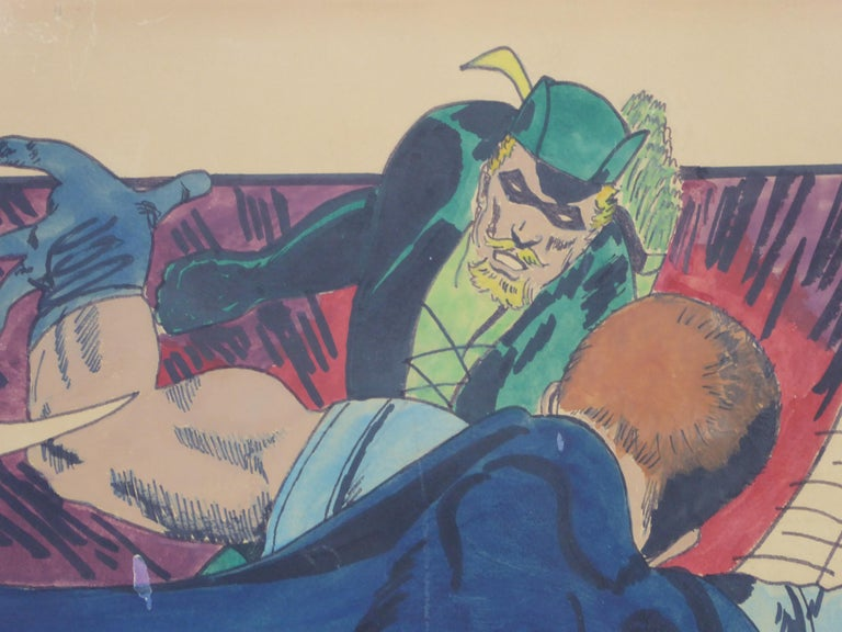 Green Arrow and Manhunter, 1970 DC Comics Superhero Painting Ink Watercolor In Good Condition For Sale In Miami, FL