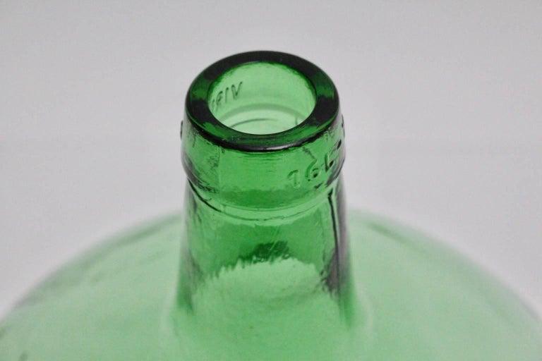 Blown Glass Emerald Green Art Deco Era Handblown Wine Bottle, 1920s, Austria For Sale