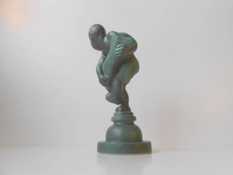 Danish Green Art Deco Sculpture by Kai Nielsen for Kähler, Denmark, 1930s