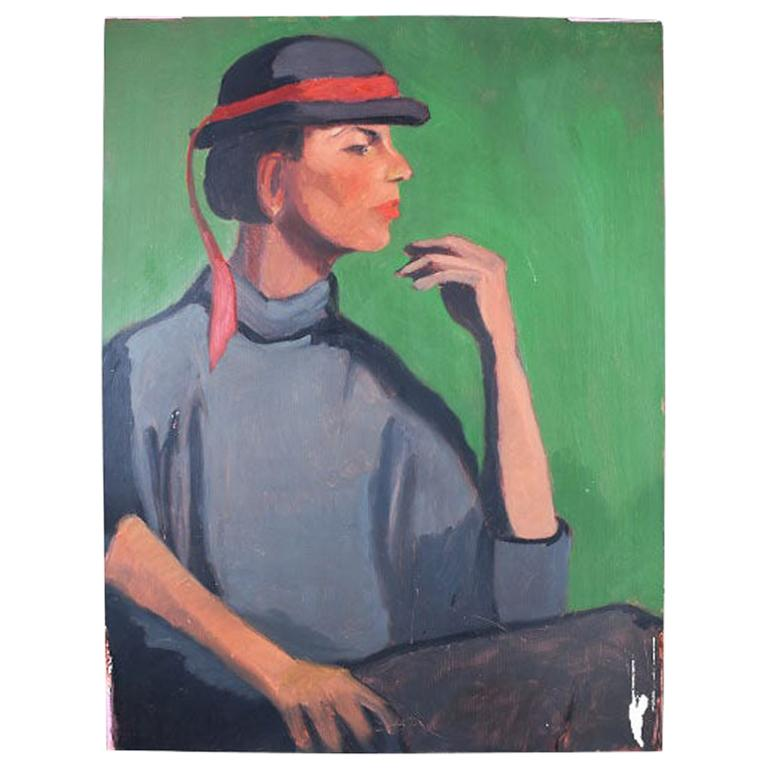 Green Art Deco Style Portrait Painting of a Woman in a Hat