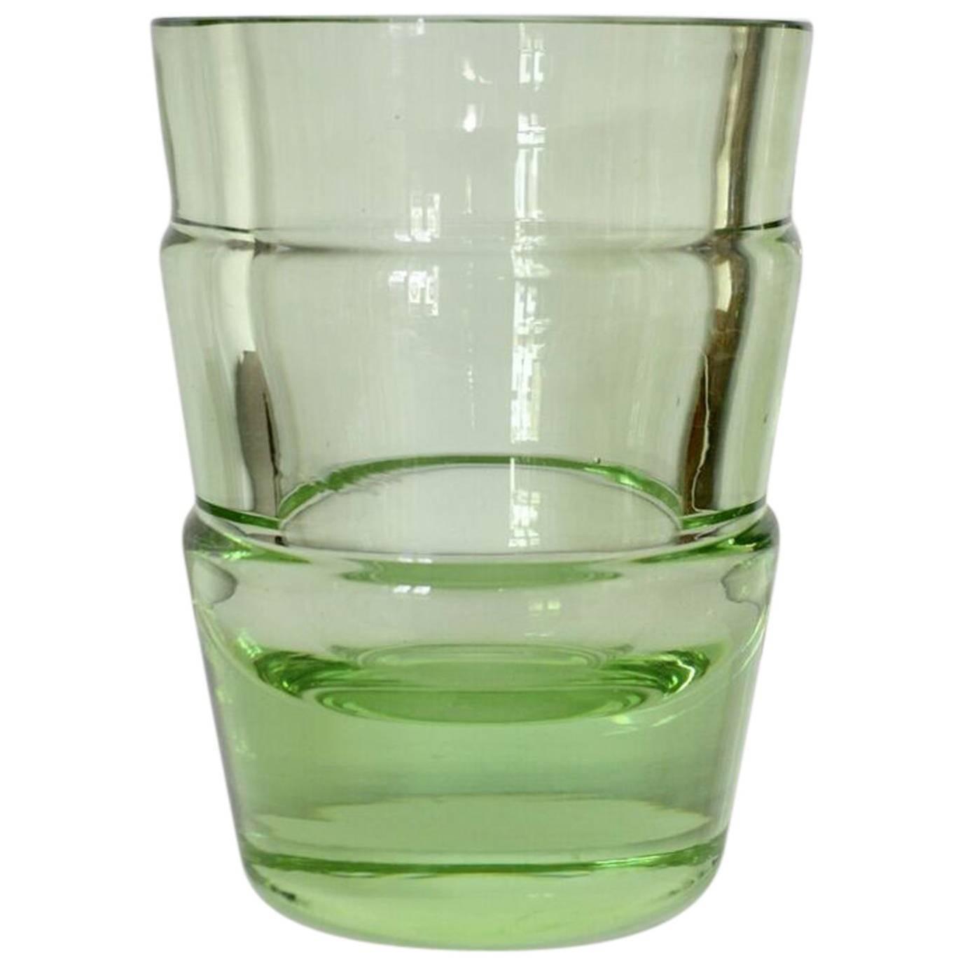 Green Art Deco Uranium Glass Vase