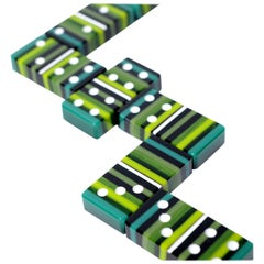 Green Art Glass Domino Barcode Collection with Wood Case
