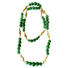 Green Aventurine 18 Karat Yellow Gold Long Necklace
